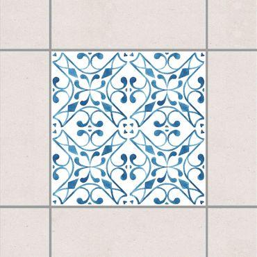 Fliesenaufkleber - Blau Weiß Muster Serie No.3