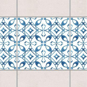 Fliesen Bordüre - Blau Weiß Muster Serie No.8 1:1 Quadrat 15cm x 15cm - Fliesenaufkleber