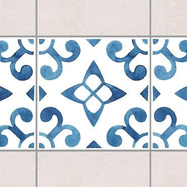 Fliesen Bordüre - Muster Blau Weiß Serie No.5 1:1 Quadrat 15cm x 15cm - Fliesenaufkleber