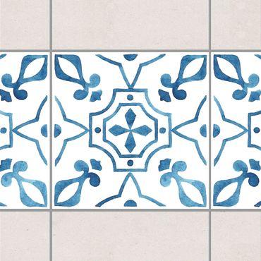 Fliesen Bordüre - Muster Blau Weiß Serie No.9 1:1 Quadrat 15cm x 15cm - Fliesenaufkleber