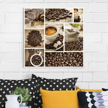 Glasbild - Kaffee Collage - Quadrat 1:1