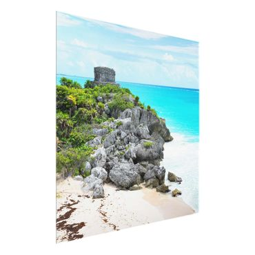 Glasbild - Karibikküste Tulum Ruinen - Quadrat 1:1