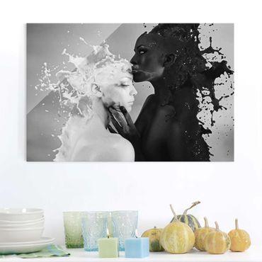 Glasbild - Milch & Kaffee Kuss schwarz weiß - Quer 3:2