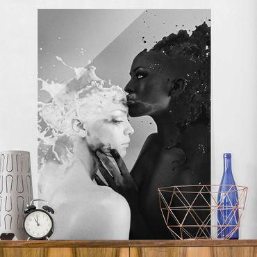 Glasbild - Milch & Kaffee Kuss schwarz weiß - Hoch 3:4