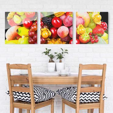 Glasbild mehrteilig - Colourful Exotic Fruits 3-teilig