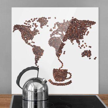 Spritzschutz Glas - Kaffee um die Welt - Quadrat 1:1