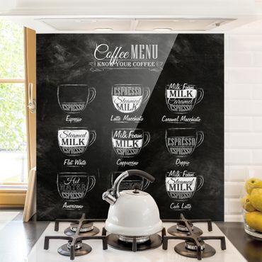 Spritzschutz Glas - Kaffeesorten Kreidetafel - Quadrat 1:1