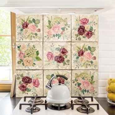 Spritzschutz Glas - Vintage Rosen und Hortensien - Quadrat 1:1