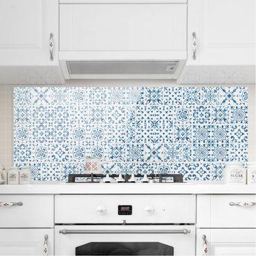 Spritzschutz Glas - Fliesenmuster Blau Weiß - Panorama Quer