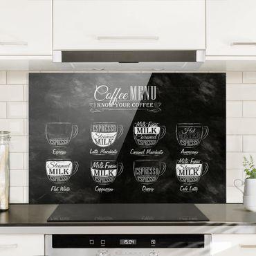 Spritzschutz Glas - Kaffeesorten Kreidetafel - Quer 3:2