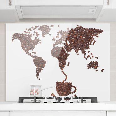 Spritzschutz Glas - Kaffee um die Welt - Quer 4:3