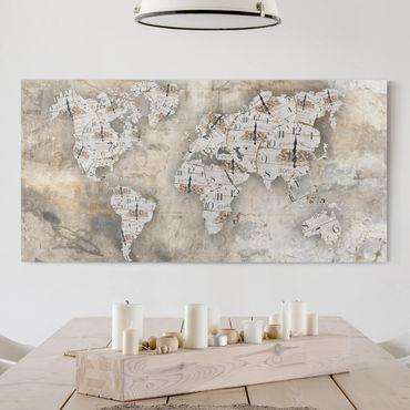 Leinwandbild - Shabby Uhren Weltkarte - Quer 2:1