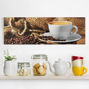 Leinwandbild - Kaffee am Morgen - Panorama Quer