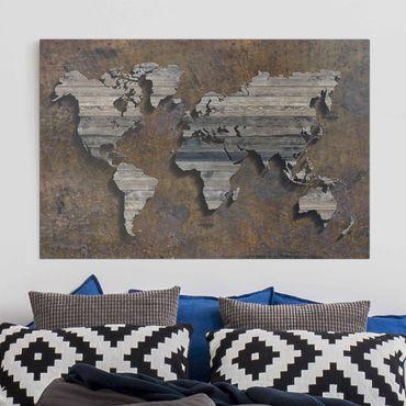 Leinwandbild - Holz Rost Weltkarte - Quer 3:2