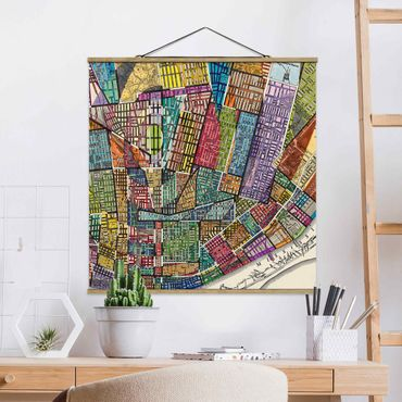Stoffbild mit Posterleisten - Moderne Karte von St. Louis - Quadrat 1:1