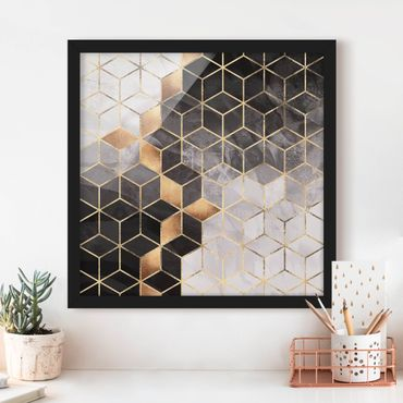 Bild mit Rahmen - Schwarz Weiß goldene Geometrie - Quadrat 1:1