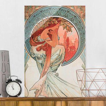 Glasbild - Alfons Mucha - Vier Künste - Die Poesie - Hochformat 3:2