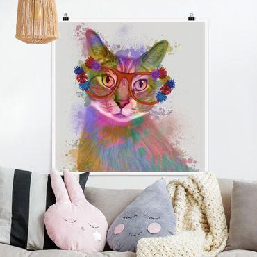 Poster - Regenbogen Splash Katze - Quadrat 1:1