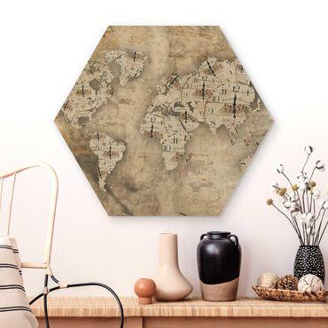 Hexagon Bild Holz - Shabby Uhren Weltkarte