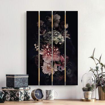 Holzbild - Blumen mit Nebel auf Schwarz - Hochformat 3:2