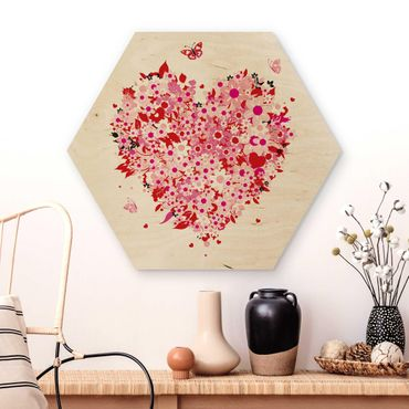 Hexagon Bild Holz - Floral Retro Heart