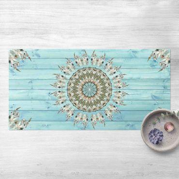 Vinyl-Teppich - Mandala Aquarell Federn blau grün auf Planke - Querformat 2:1
