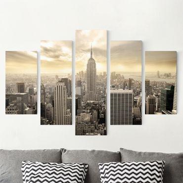 Leinwandbild 5-teilig - Manhattan Dawn