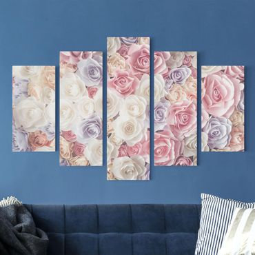 Leinwandbild 5-teilig - Pastell Paper Art Rosen