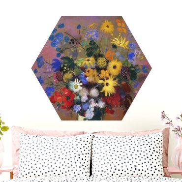 Hexagon Bild Alu-Dibond - Odilon Redon - Blumen in einer Vase