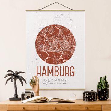 Stoffbild mit Posterleisten - Stadtplan Hamburg - Retro - Hochformat 4:3