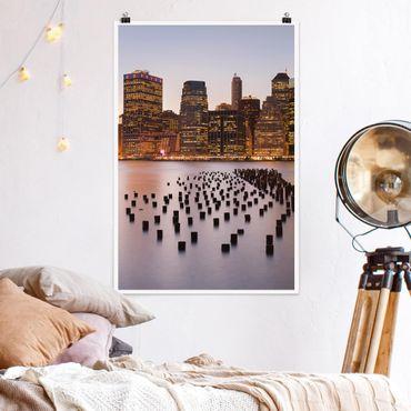 Poster - Blick auf Manhattan Skyline - Hochformat 3:2