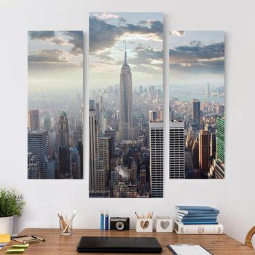 Leinwandbild 3-teilig - Sonnenaufgang in New York - Galerie Triptychon