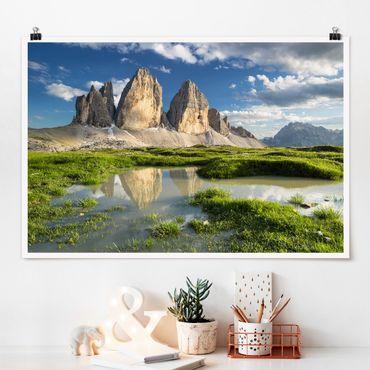 Poster - Südtiroler Zinnen und Wasserspiegelung - Querformat 2:3