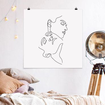 Poster - Line Art Frauen Gesichter Weiß - Quadrat 1:1