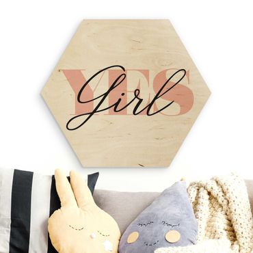 Hexagon Bild Holz - YES Girl