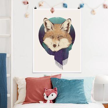 Poster - Illustration Fuchs Mond Lila Türkis - Hochformat 4:3