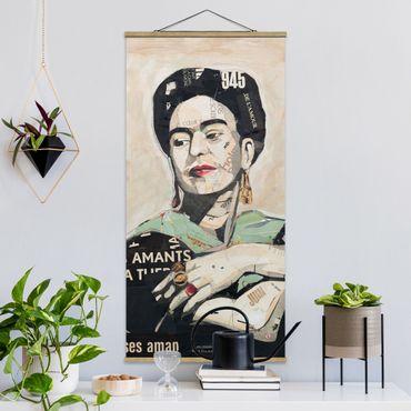 Stoffbild mit Posterleisten - Frida Kahlo - Collage No.4 - Hochformat 1:2