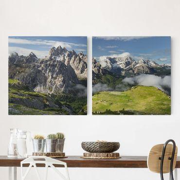 Leinwandbild 2-teilig - Italienische Alpen - Quadrate 1:1