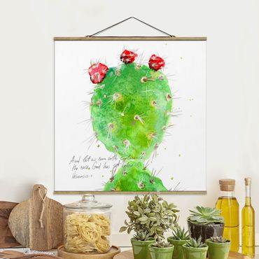 Stoffbild mit Posterleisten - Kaktus mit Bibelvers IV - Quadrat 1:1