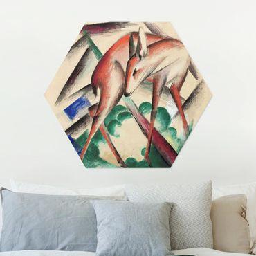 Hexagon Bild Alu-Dibond - Franz Marc - Reh