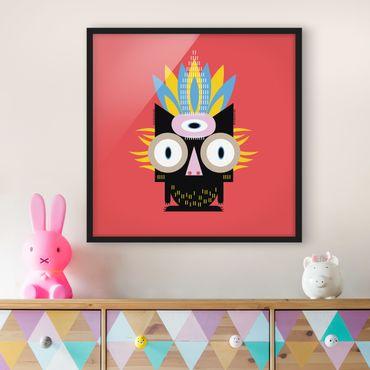 Bild mit Rahmen - Collage Ethno Monster - Katze - Quadrat 1:1