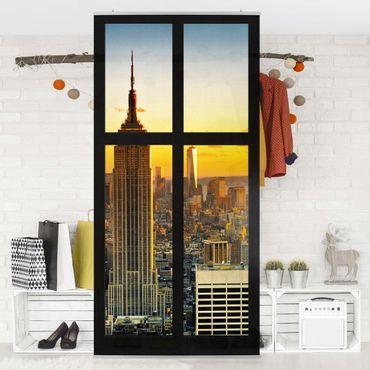 Raumteiler - Fensterblick Manhattan Skyline Sonnenuntergang 250x120cm