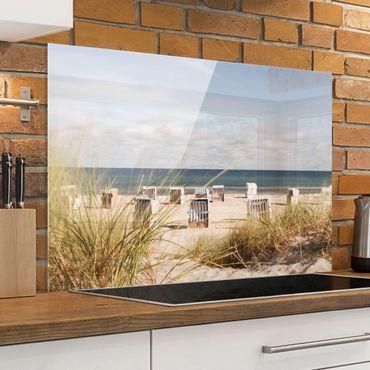 Spritzschutz Glas - Ostsee und Strandkörbe - Querformat - 3:2