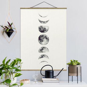 Stoffbild mit Posterleisten - Sieben Monde - Hochformat 4:3