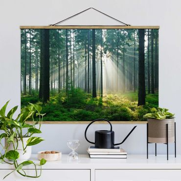 Stoffbild mit Posterleisten - Enlightened Forest - Querformat 3:2