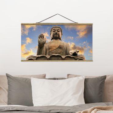 Stoffbild mit Posterleisten - Großer Buddha - Querformat 1:2