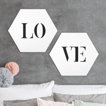 Hexagon Bild Forex 2-teilig - Buchstaben LOVE Schwarz Set I