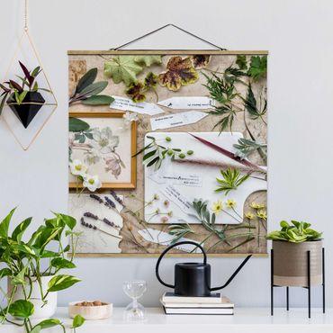 Stoffbild mit Posterleisten - Blumen und Gartenkräuter Vintage - Quadrat 1:1