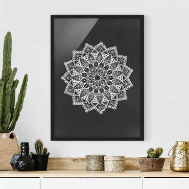 Bild mit Rahmen - Mandala Illustration Ornament weiß schwarz - Hochformat 4:3