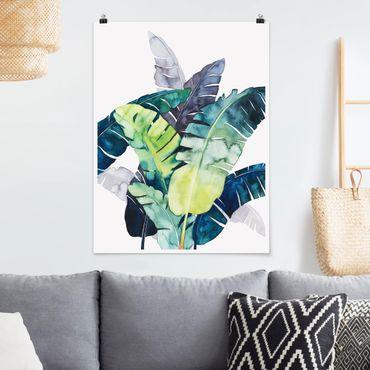 Poster - Exotisches Blattwerk - Banane - Hochformat 3:4